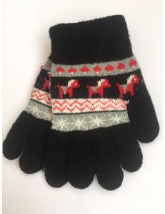 Перчатки осенние черного цвета с изображением пони