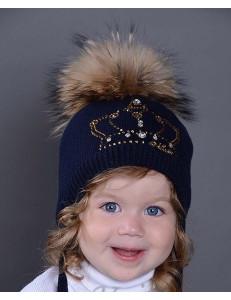 """Шапка зимняя для девочек синего цвета с короной """"ДИАНА"""""""